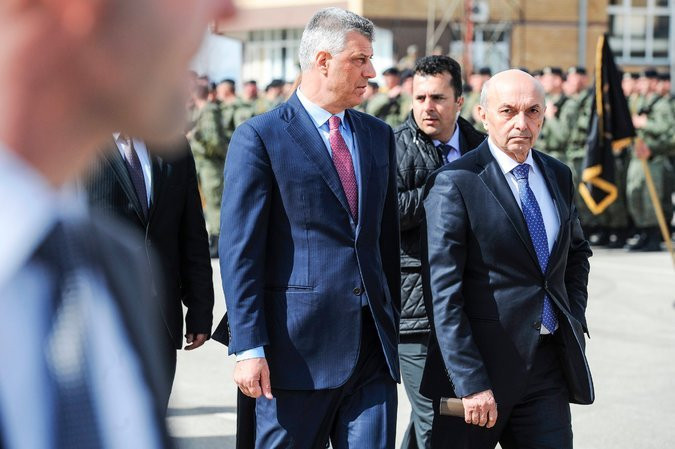 President Hashim Thaci of Kosovo, left, during a ceremony last year commemorating the 19th anniversary of the Kosovo war. With him was Isa Mustafa, right, then the prime minister. Credit Armend Nimani/Agence France-Presse — Getty Images