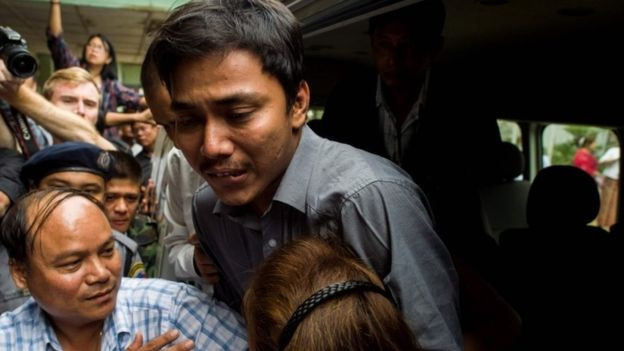 Kyaw Soe Oo was met by his sister at court