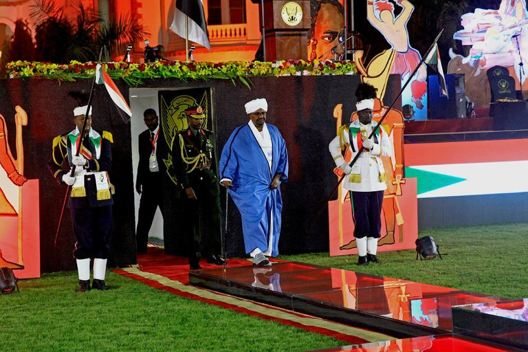 President Omar Hassan al-Bashir of Sudan during an independence day celebration in Khartoum last month. His government has ratcheted up censorship.  [What an absurdly inadequate caption—ER]