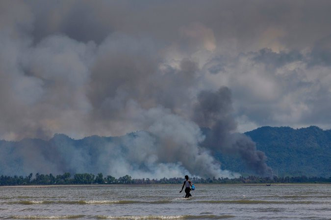 The smoke from burning Rohingya villages in Myanmar could be easily seen from Bangladesh in September. The army's campaigns against other ethnicities have also featured methodical arson.CreditDar Yasin/Associated Press