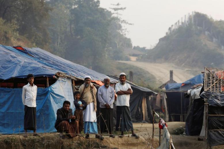 Rohingya refugees are seen in a refugee camp at no-man's land at the Bangladesh-Myanmar border, in Cox's Bazar, Bangladesh January 12, 2018. REUTERS/Tyrone Siu