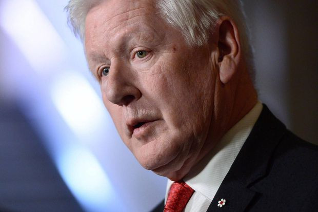 Bob Rae, special envoy to Myanmar, holds a press conference in the foyer of the House of Commons on Parliament Hill, in Ottawa, on Oct. 23, 2017.  (Sean Kilpatrick/THE CANADIAN PRESS)