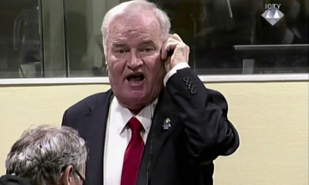A video image of Ratko Mladic reacting during his trial before being dragged out of the courtroom in The Hague in November. (Photograph: AFP/Getty Images)
