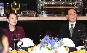 Kim Yong Nam, North Korea's ceremonial head of state, and Kim Yo Jong, sister of North Korean leader Kim Jong Un, attend a dinner Saturday at a hotel in Gangneung, South Korea. (Yonhap/EPA-EFE/Shutterstock)