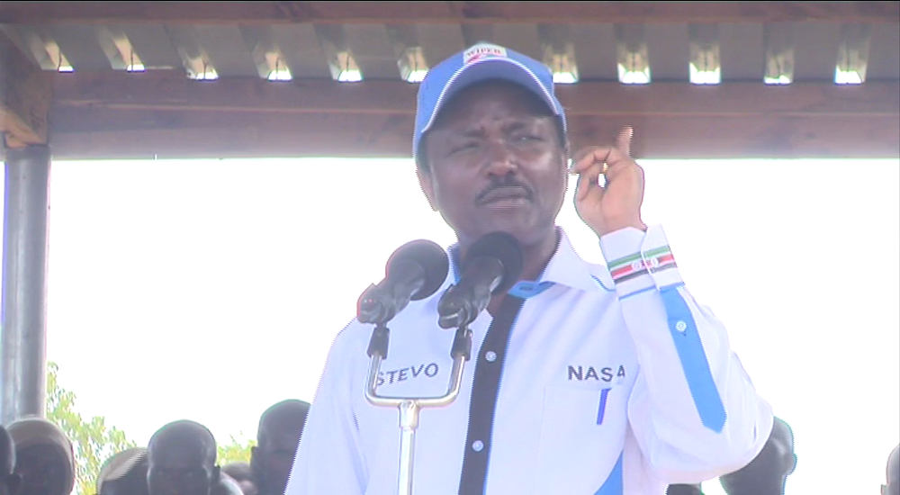 Wiper Party leader and NASA co principal Kalonzo Musyoka adressing Kitui West residents on Thursday January 25