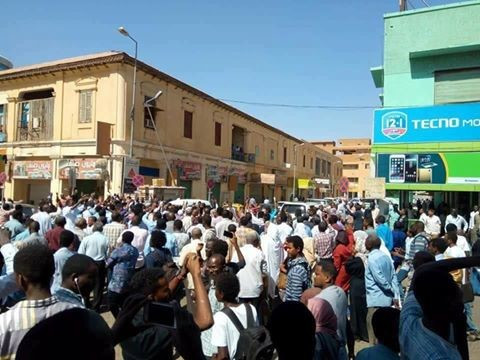 A protest in the streets of Khartoum against the price increases, on January 16 (Radio Dabanga)