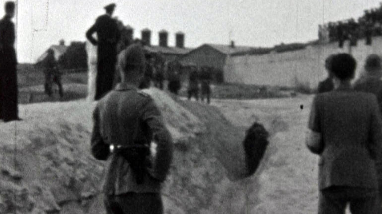 Screenshot from film showing the Einsatzgruppen at work.
