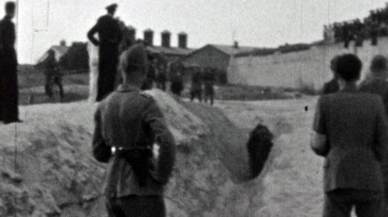 Screenshot from film showing the Einsatzgruppen at work.