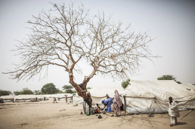 A woman feeds children who take shelter from the midday sun under a bare tree at the Dalori camp. (Jane Hahn/For The Washington Post)