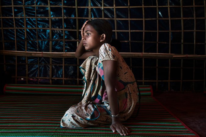 Jehora Begum, 12, made it to the Balukhali camp in Bangladesh after most of her family was gunned down in Myanmar.CreditAdam Dean for The New York Times