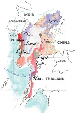 """AN ETHNIC PATCHWORK Myanmar's 135 recognized ethnic groups are grouped into eight """"major national races,"""" shown above. The Rohingya, who predominantly live in Rakhine state, are not formally recognized by the government.   Illustration by Jane Webster"""