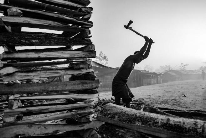Starting Over Rohingya Muslims feel more free to practice their faith in Bangladesh than in Myanmar. Above, a man helps build a mosque at the Balukhali camp. | Szymon Barylski for Politico Magazine