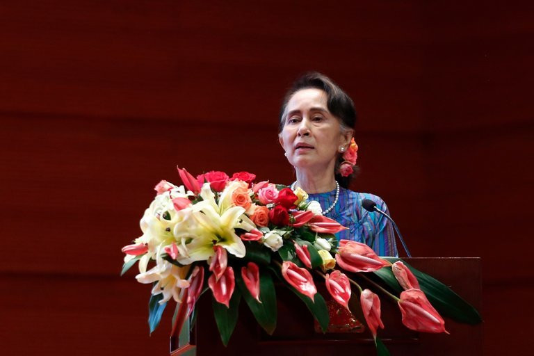 "Myanmar's civilian leader, Daw Aung San Suu Kyi, has failed to ""condemn and stop the military's brutal campaign"" against the Rohingya minority, the United States Holocaust Memorial Museum said in stripping her of its Elie Wiesel Award. Credit Hein Htet/European Pressphoto Agency"