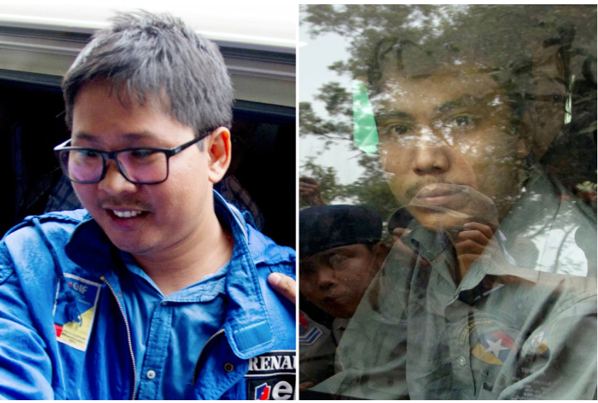 In this combination of Dec. 27, 2017, file photos, Reuters journalist Thet Oo Maung, also known as Wa Lone, left, and Kyaw Soe Oo, also known as Moe Aung, are pictured outside court near Yangon, Myanmar. Myanmar is set to put two reporters from the Reuters news agency on trial after they were charged under a colonial-era state secrets act, in a case that highlights growing concerns about press freedom in the country. (Thein Zaw, File/Associated Press)