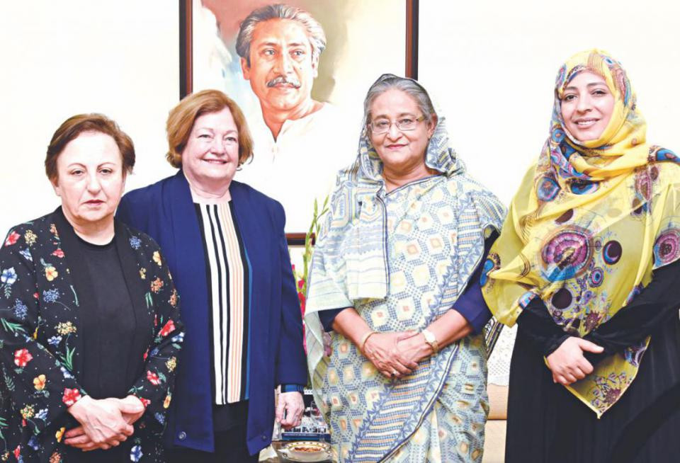 Nobel Laureates Shirin Ebadi of Iran, left, Mairead Maguire of Northern Ireland, second from left, and Tawakkol Karman of Yemen, right, met Prime Minister Sheikh Hasina at the Gono Bhaban on Wednesday, February 28, 2018. Photo: BSS