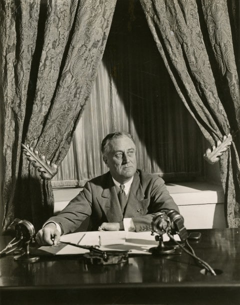 Franklin D. Roosevelt broadcasts his first fireside chat, March 12, 1933. (Franklin D. Roosevelt Presidential Library & Museum/Franklin D. Roosevelt Presidential Library & Museum)