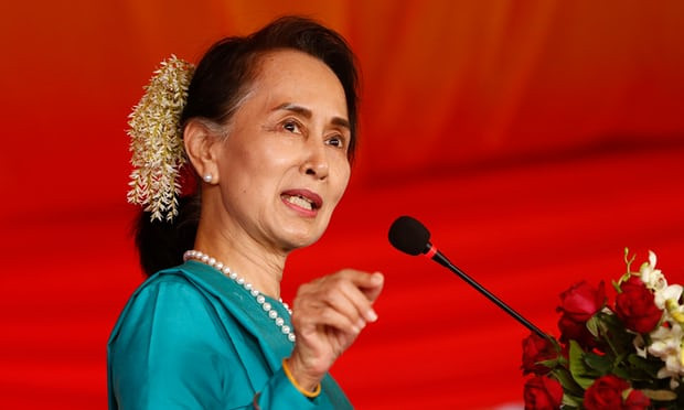 Aung San Suu Kyi's lack of response to the plight of the Rohingya Muslims has led to calls for her to be edited from a book of inspirational women. Photograph: Lynn Bo Bo/EPA