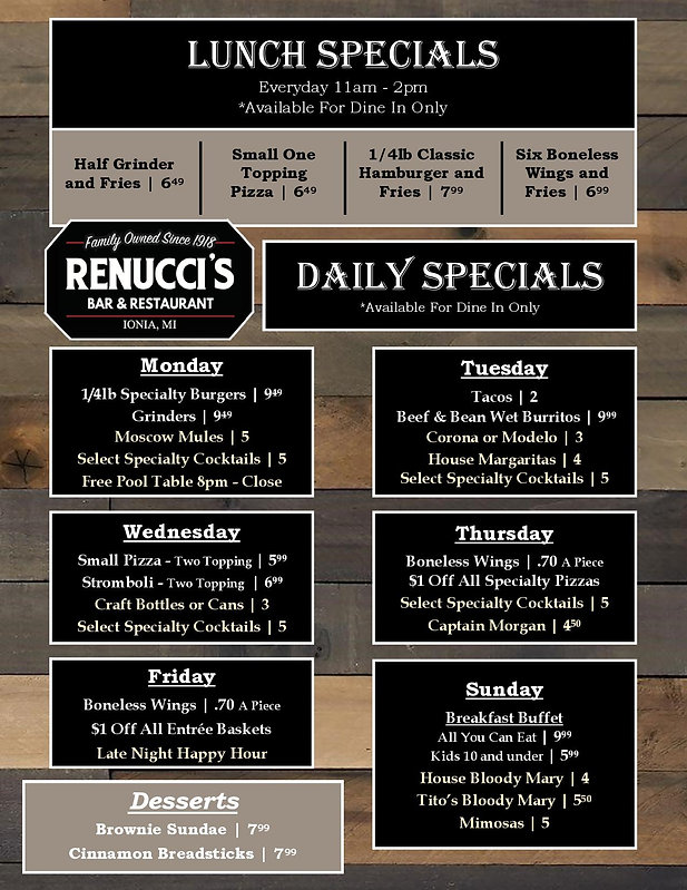 Lunch specials, Happy Hour