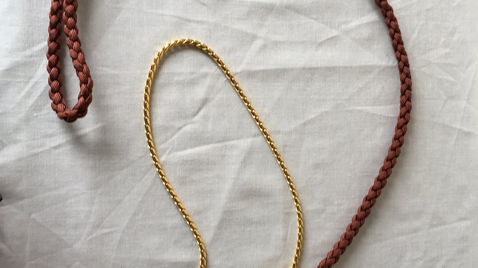 Brown handmade paracord lead with gold chain