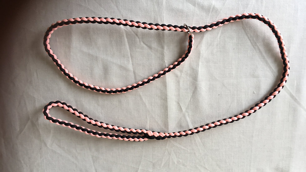 Salmon pink and black handmade paracord lead