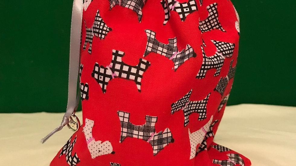 Red with scottie dog design