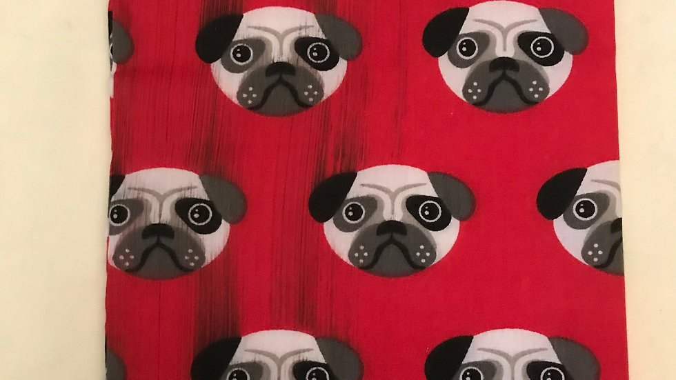 Red with pug faces