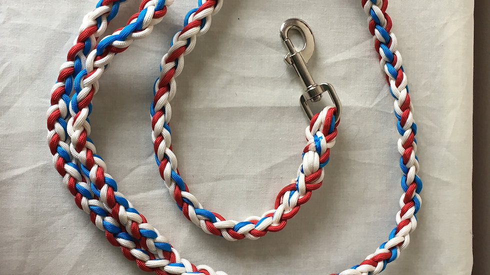 Red, white and blue handmade paracord lead