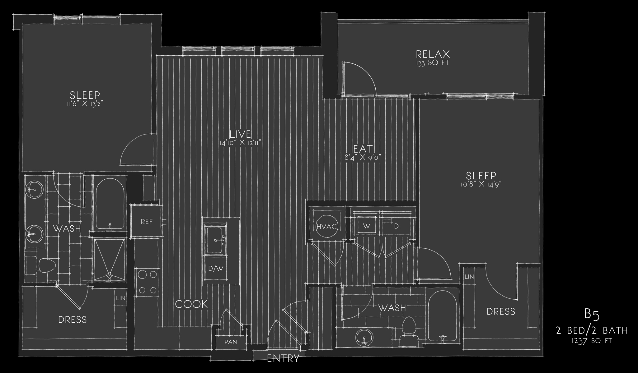 sketched reverse floorplan