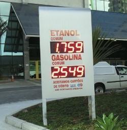 Painel indicador de preços posto