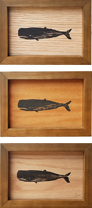 Cachalotes na folha de madeira