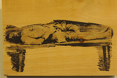 Murdered Jewish worker, wood panel