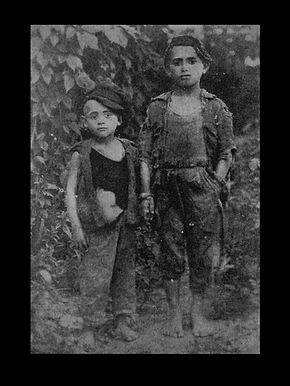 Two orphans from Trotstiansta whose parents were brutally murdered in front of them. They had wandered for a long time until they reached Odessa where they were placed in an orphanage.    Caption provided by Sergei Kan