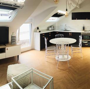 Réorganisation d'un duplex, création d'une grande pièce de vie, Guérande intramuros