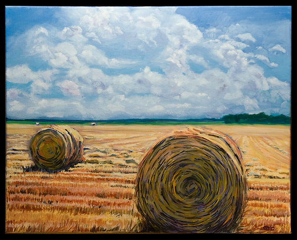 Round Bales 16 x 20 oil on canvas SOLD.j