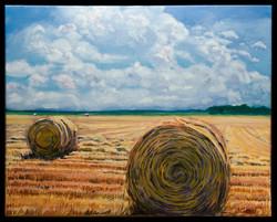 Round Bales 16x20 oil on canvas