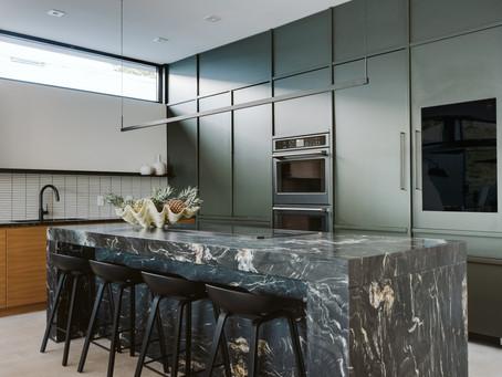 "Florida Mid-Century Modern Kitchen by Studio 818 Featuring ""Sonneman"" Lighting"