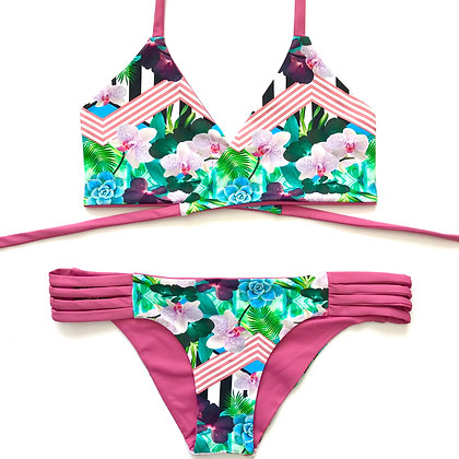 Indigo Bikini Light Orchids print and solid pink front view