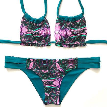 Crasqui Bikini Plants print and Emerald Green front view