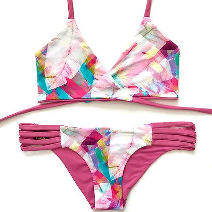 Indigo bikini Freedom Print and solid pink front view