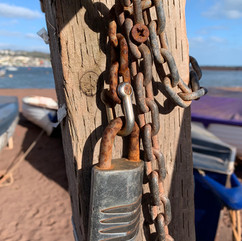 Boats locked and chained