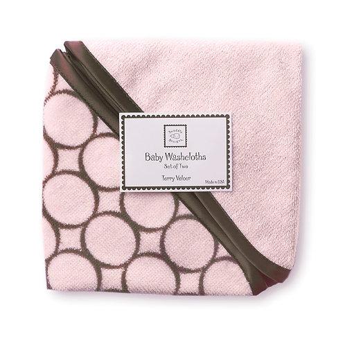 Baby Washcloth - Brown Mod Circles (Set of 2)