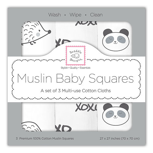 Muslin Baby Squares - Hedgehog (Set of 3)