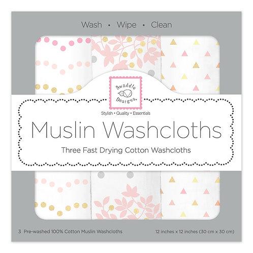 Muslin Washcloths - Heavenly Floral Shimmer (Set of 3)