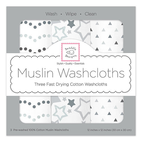 Muslin Washcloths - Starshine Shimmer (Set of 3)