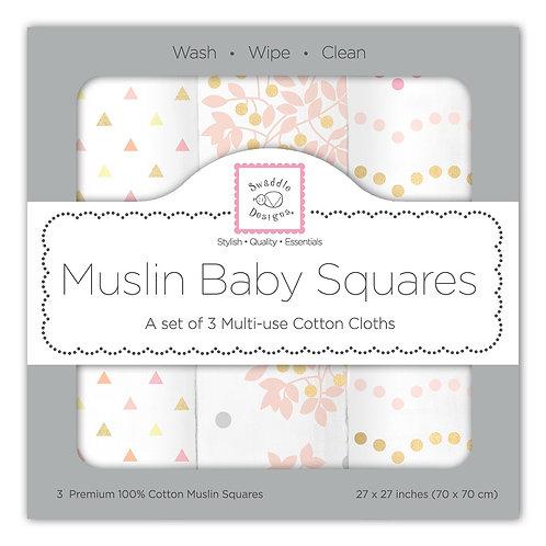 Muslin Baby Squares - Heavenly Floral Shimmer (Set of 3)