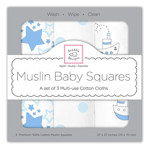 Muslin Baby Squares - Little Ships (Set of 3)
