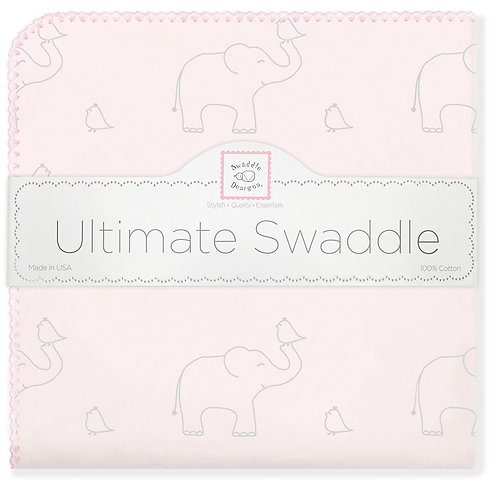 Ultimate Swaddle Blanket - Sterling Deco Elephants