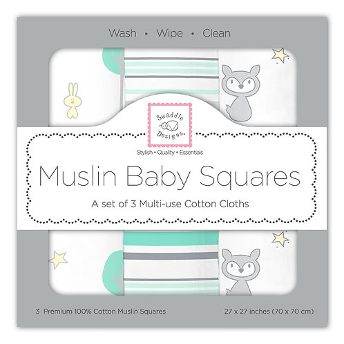 Muslin Baby Squares - Woodland (Set of 3)