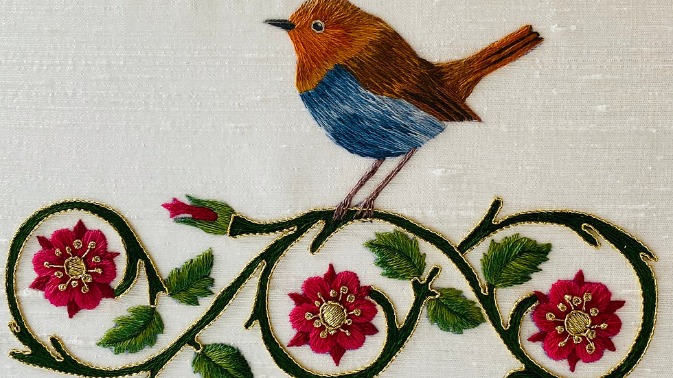 Japanese Robin embroidery pattern
