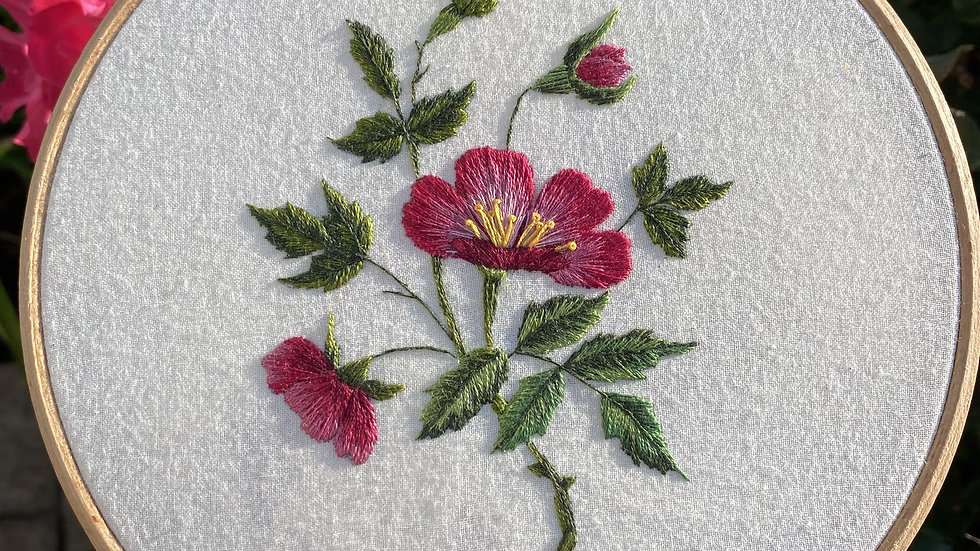 Wild Rose: Thread Painting Workshop: Saturday 10th April